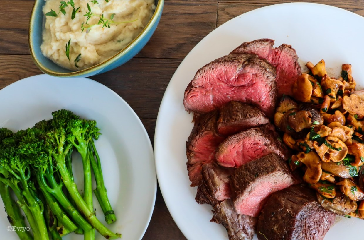 Chateaubriand With Wild Mushrooms and Celeriac Purée